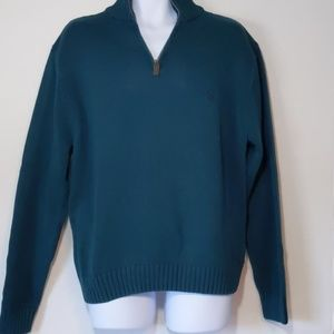 Chaps 1/4 zip pull over sweater Hunter green XL